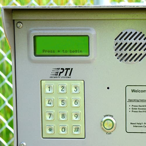 Keypad for secure entry at Red Dot Storage in Bloomington, Illinois