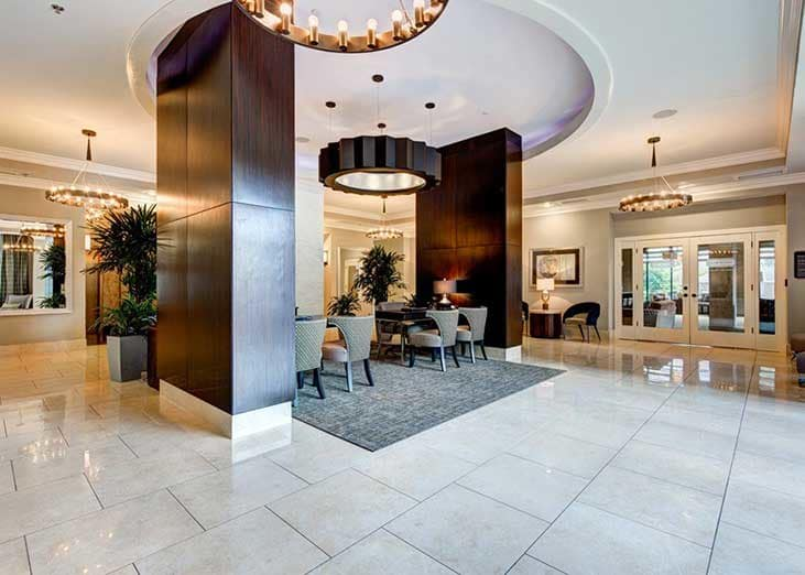 The elegant lobby at The Eva