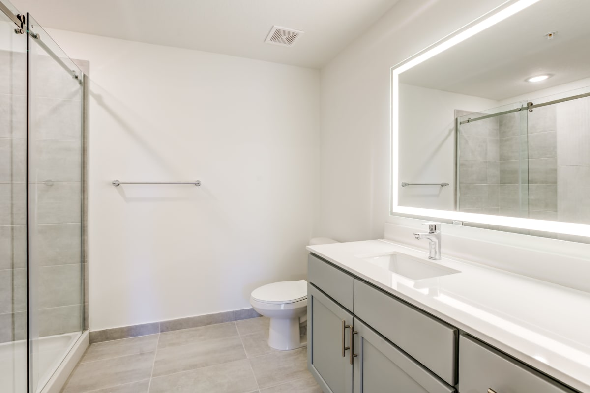 Bathroom with standup shower at Solera at City Centre in Palm Beach Gardens, Florida