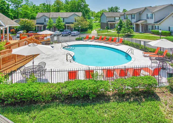 Beautiful swimming pool area at Cooper Creek in Louisville, Kentucky