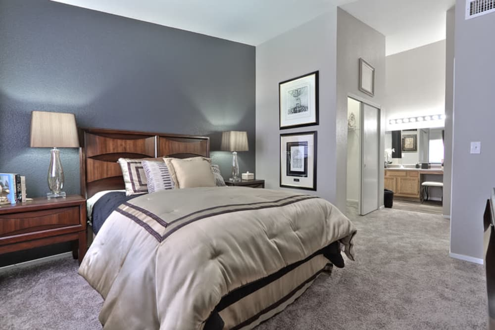 Modern bedroom at Mariner at South Shores in Las Vegas, Nevada