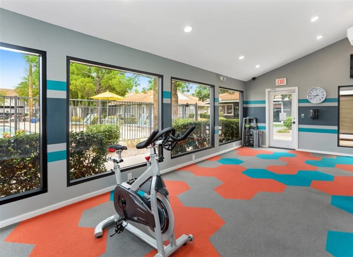 A spin room in the fitness center at Argenta Apartments in Mesa, Arizona