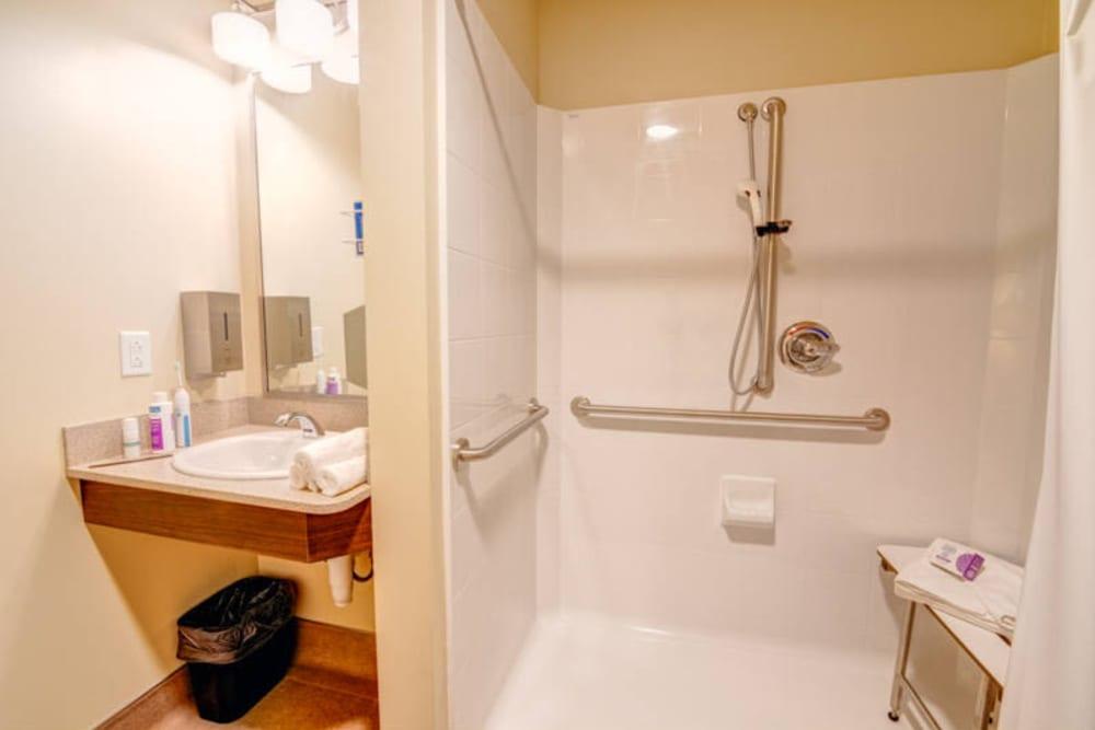 Large shower at Mission Healthcare at Renton in Renton, Washington.
