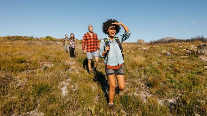 Couples going for a hike together near Tacara at Westover Hills in San Antonio, Texas