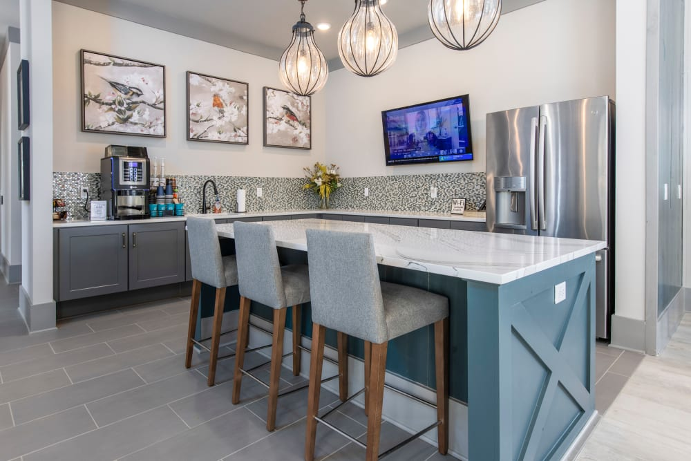 Coffee bar and seating at South City Apartments in Summerville, South Carolina