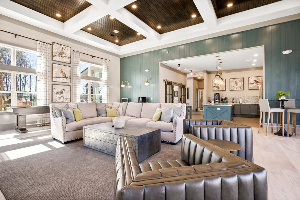 Luxury community lounge at South City Apartments in Summerville, South Carolina