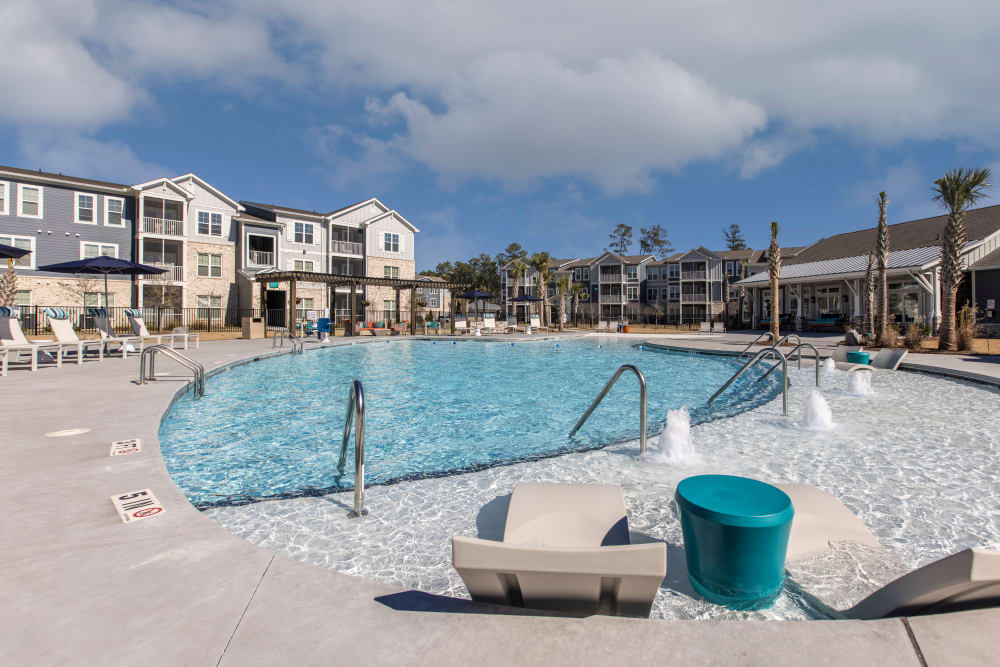 Sparkling pool at South City Apartments in Summerville, South Carolina