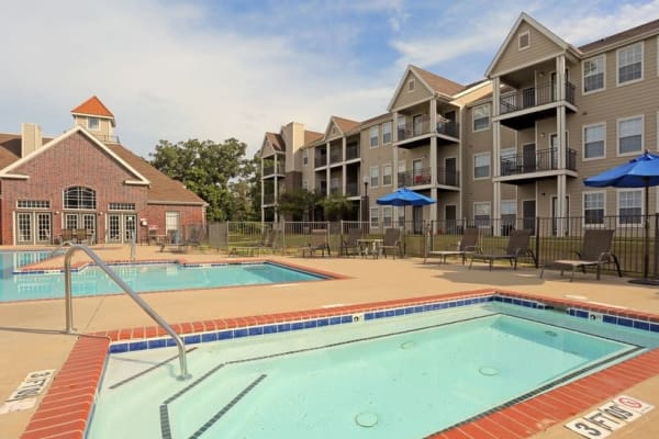 Two swimming pools at Harbin Pointe Apartments in Bentonville, Arkansas