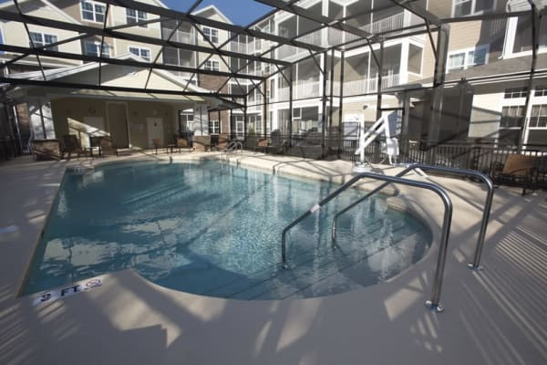 Community pool at Cypress Springs Gracious Retirement Living in Bradenton, Florida