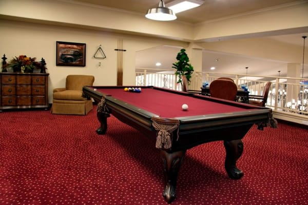 Billiards table at Cypress Springs Gracious Retirement Living in Bradenton, Florida
