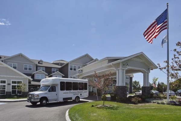 The community bus outside of Magnolia Heights Gracious Retirement Living in Franklin, Massachusetts
