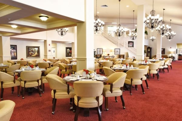 A large dining room at Maple Ridge Gracious Retirement Living in Cedar Park, Texas