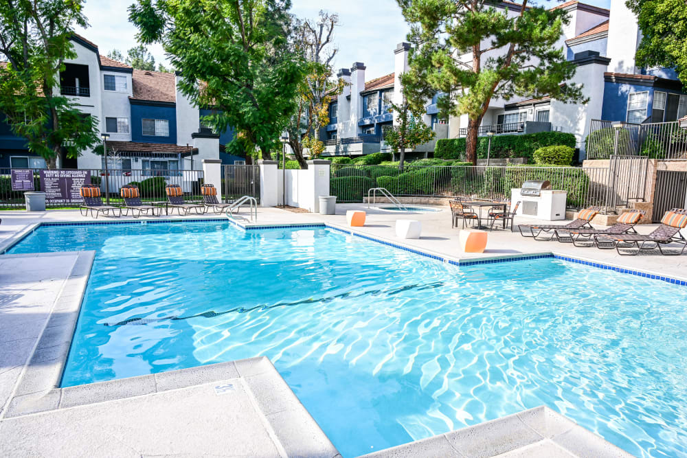 Resort style swimming pool at Sierra Heights Apartments in Rancho Cucamonga, California