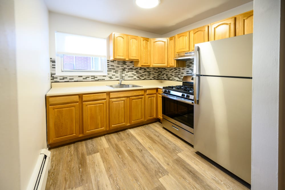 Kitchen model at Lafayette Park Apartments in Hawthorne, New Jersey