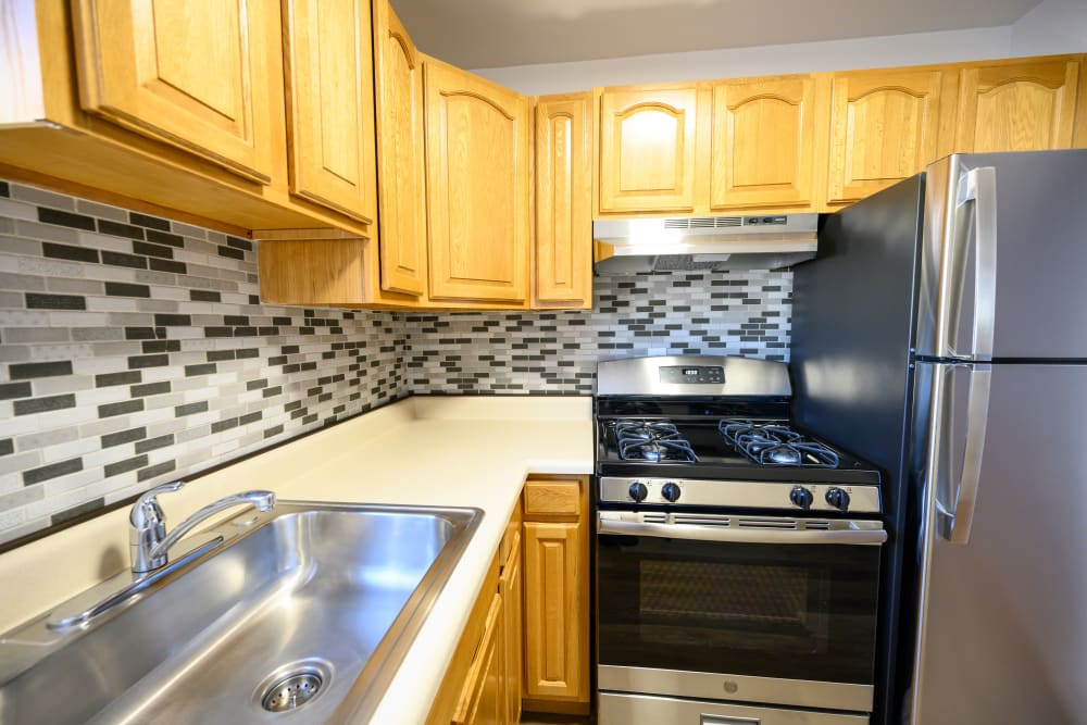 Kitchen layout at Lafayette Park Apartments in Hawthorne, New Jersey