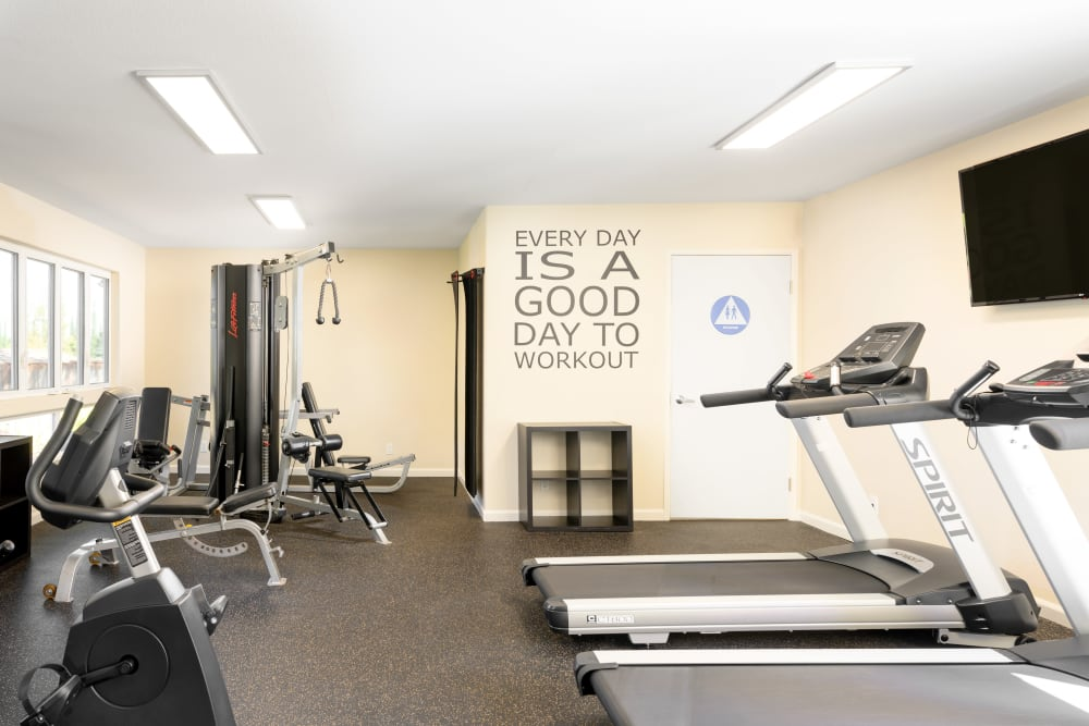 Well-equipped fitness center at Pleasanton Heights in Pleasanton, California