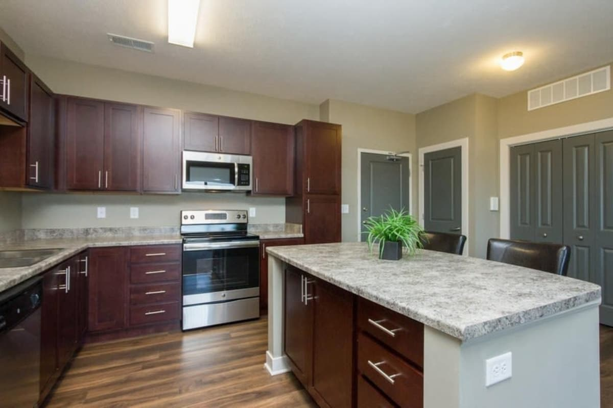 Beautiful kitchen layout at The Summit at Sunnybrook Village in Sioux City, Iowa