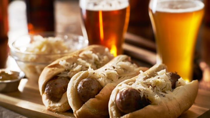 Bratwurst and beers at a restaurant near Tacara at Westover Hills in San Antonio, Texas