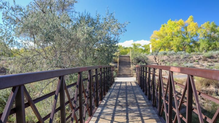 A footbridge in a natural setting in a blog article on our website at Olympus Solaire in Albuquerque, New Mexico