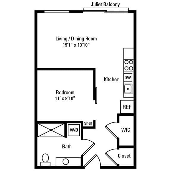 1 Bedroom, 1 Bath 606 sq. ft. apartments for rent at City Centre in Ithaca, NY