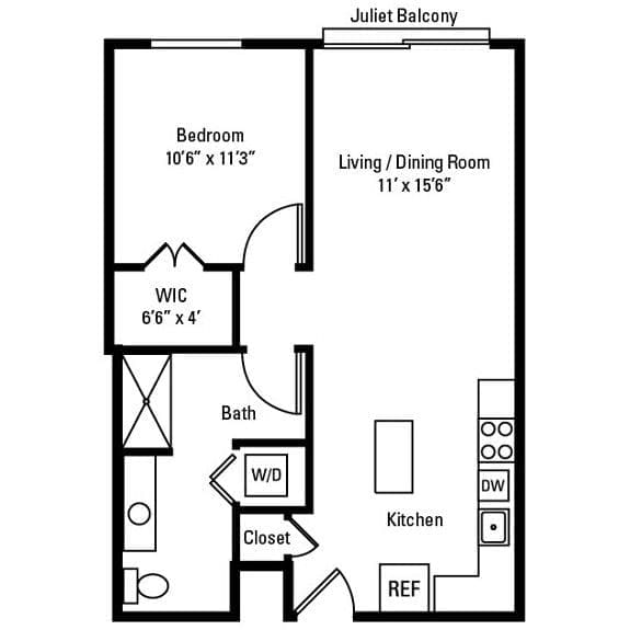 1 Bedroom, 1 Bath 683 sq. ft. apartments at City Centre in Ithaca, NY