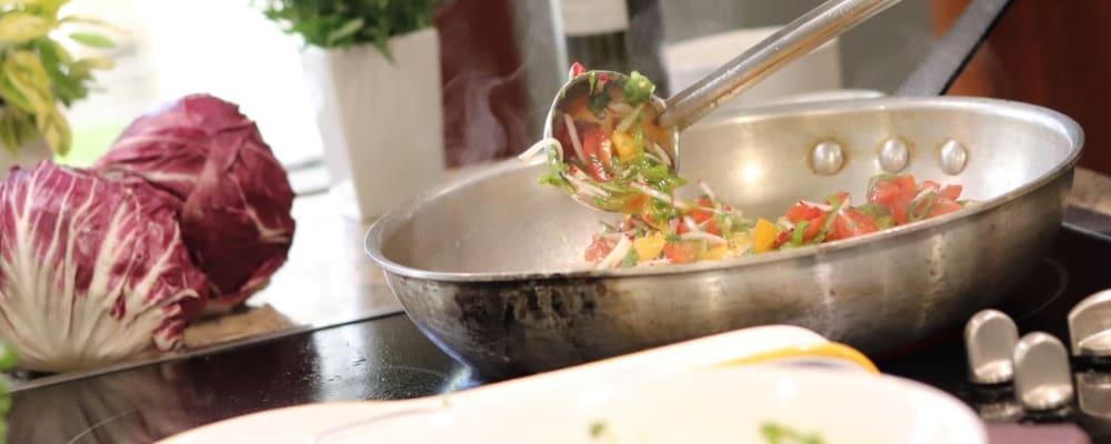 Omelet preparation at The Springs at Carman Oaks in Lake Oswego, Oregon