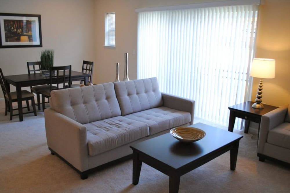 Spacious living room at Orchard Meadows Apartment Homes in Ellicott City, Maryland