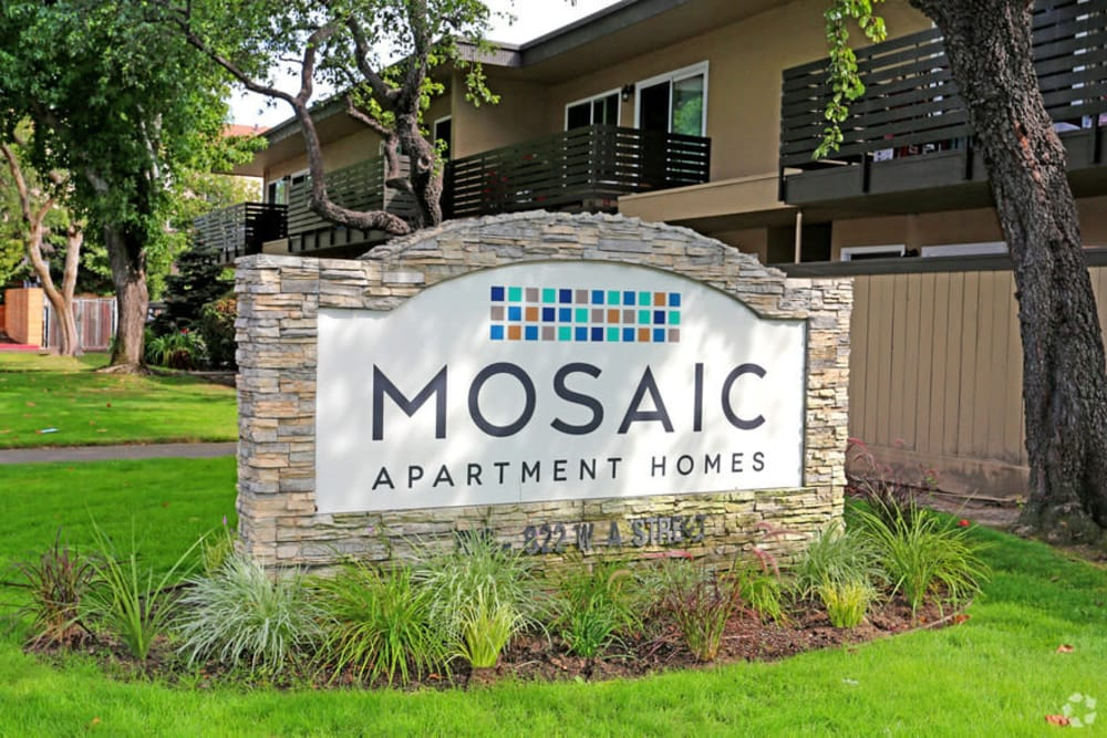 Apartment signage at Mosaic Hayward in Hayward, California