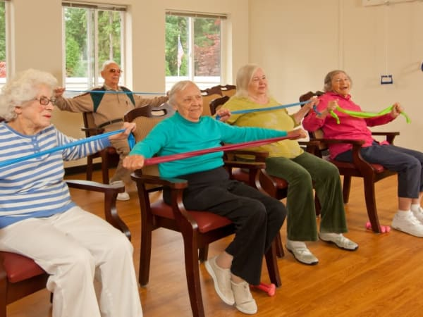 A resident group fitness class at Patriots Glen in Bellevue, Washington.