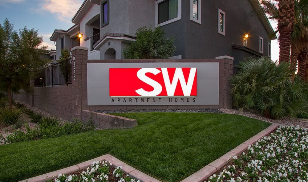 Welcome sign at SW Apartments in Las Vegas