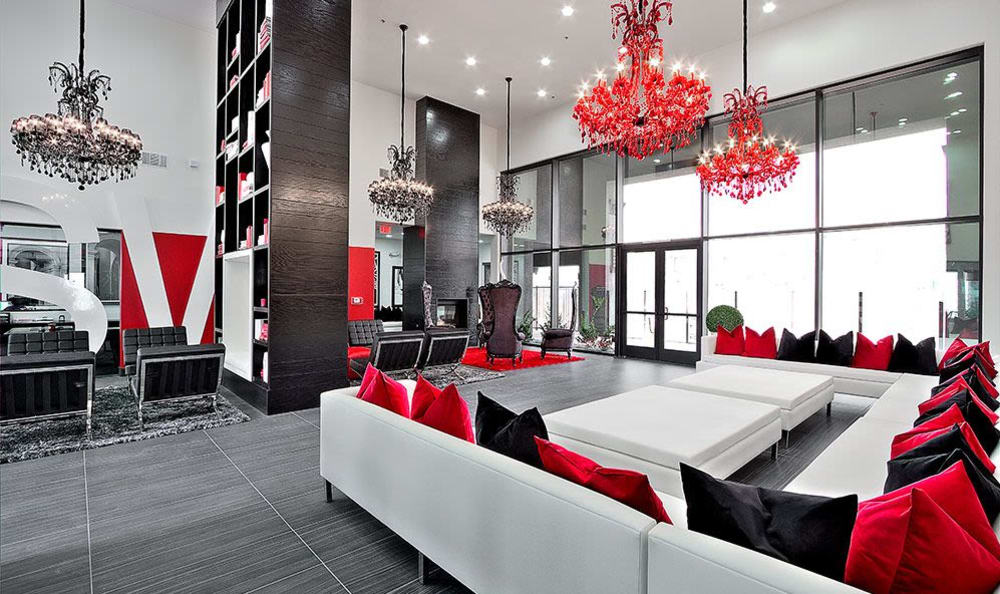 Spacious and lavishly decorated lobby at SW Apartments in Las Vegas