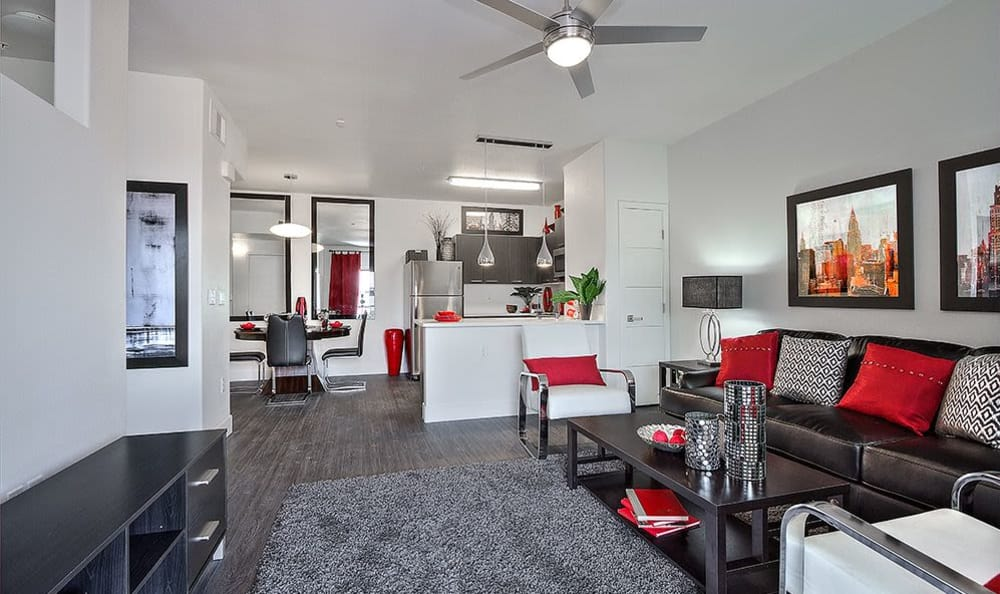 Hardwood floors and spacious floor plan in model apartment home at SW Apartments in Las Vegas