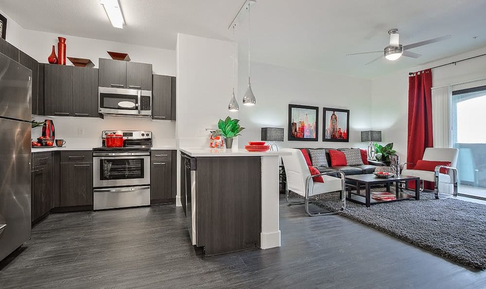 Well-equipped modern kitchen in apartment home at SW Apartments in Las Vegas