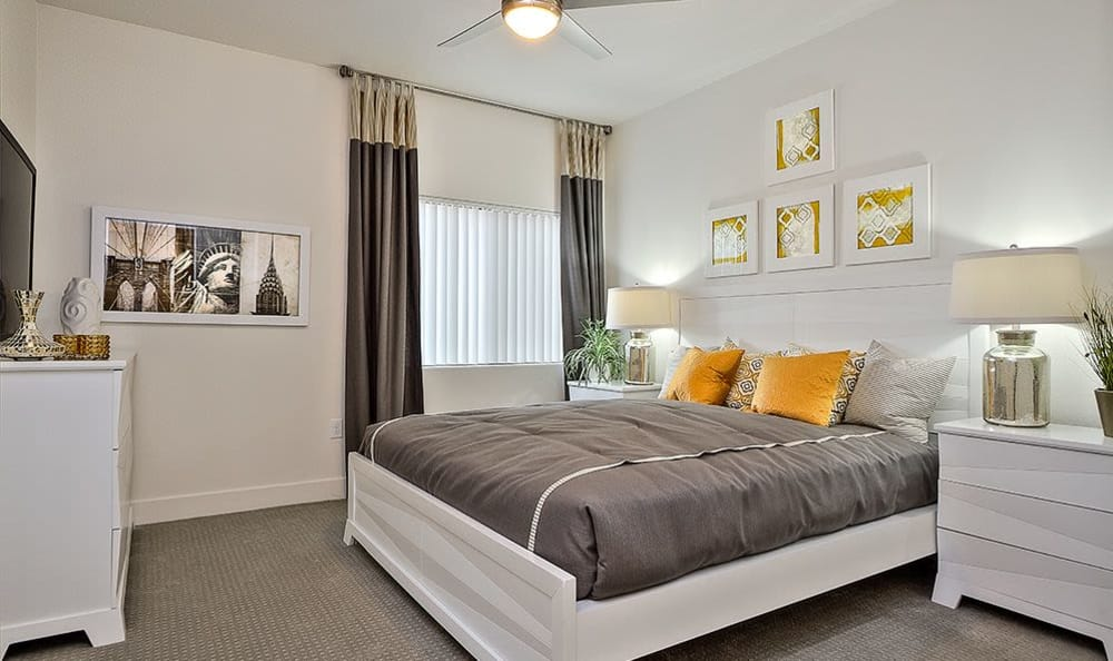 Spacious bedroom in model home at SW Apartments in Las Vegas