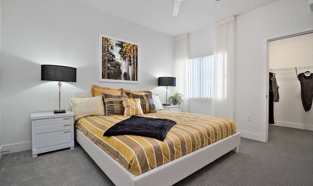 Bedroom in model home at SW Apartments in Las Vegas