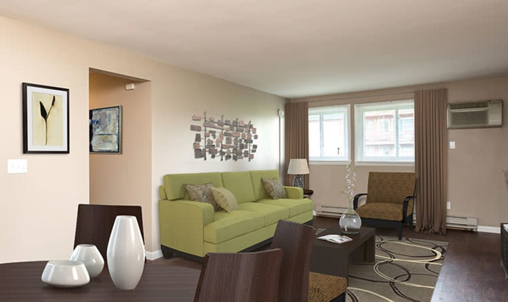 Model living room in apartment at Wellington Manor in Liverpool, New York