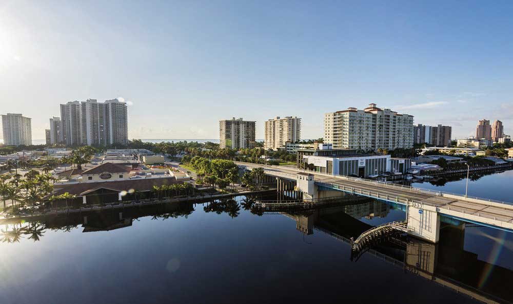 City views from The Meridian at Waterways in Fort Lauderdale, Florida.