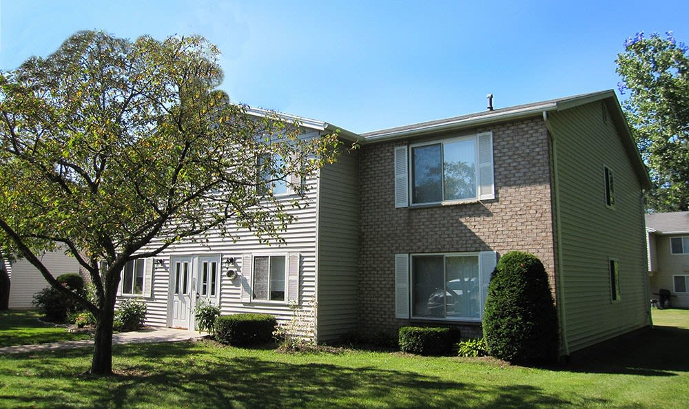 Exterior view of apartment at Newcastle Apartments home in Rochester, New York
