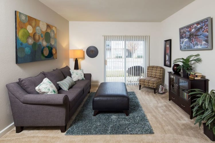 Bright, spacious living room at Crescent at Wolfchase in Memphis, Tennessee