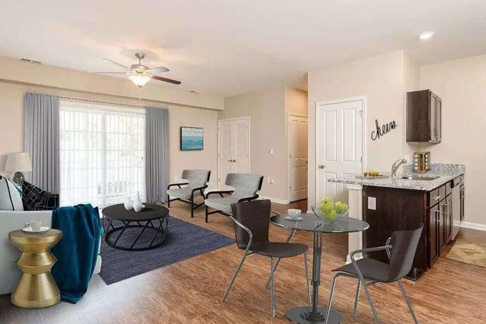 Bright living room at Canal Crossing in Camillus, New York