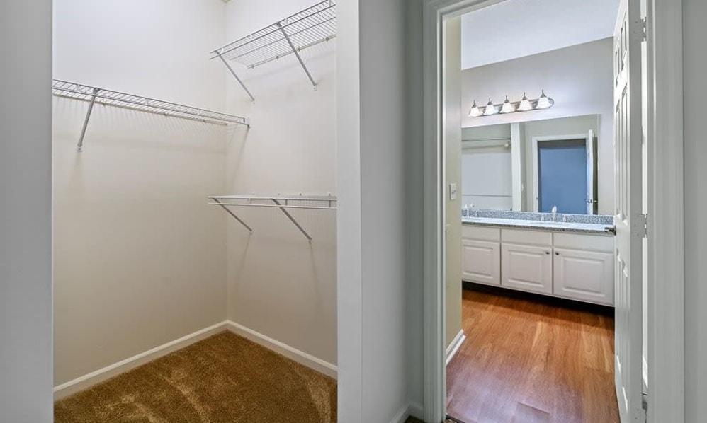 Spacious walk-in closet next to the bathroom at Christopher Wren in Wexford, Pennsylvania