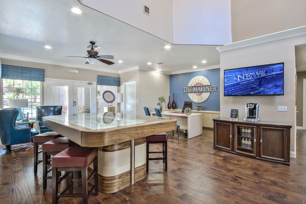 Clubhouse entry at Mariner at South Shores | Apartments in Las Vegas, NV