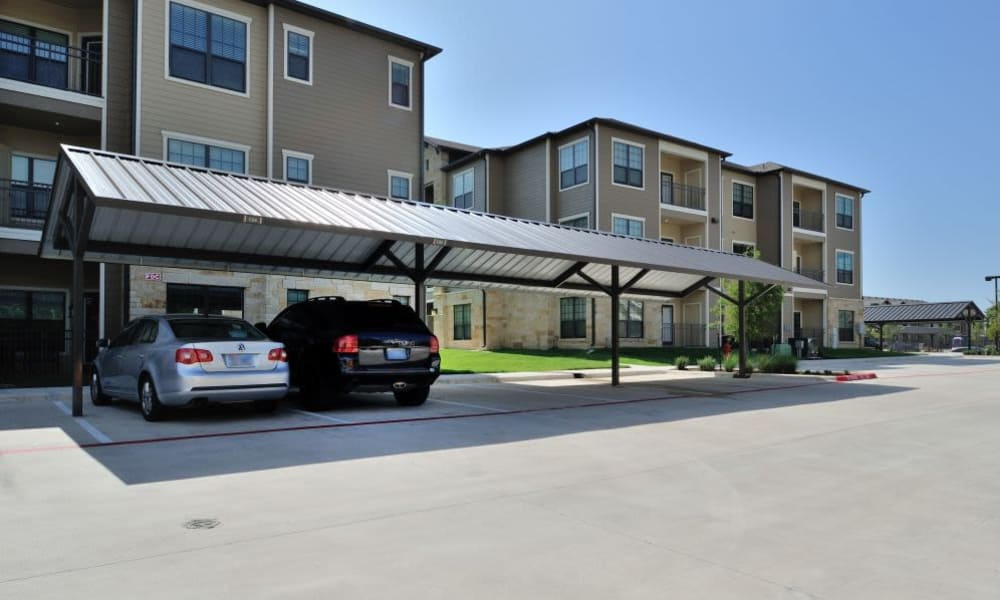 Parking area at Cordevalle Apartments in Round Rock, Texas