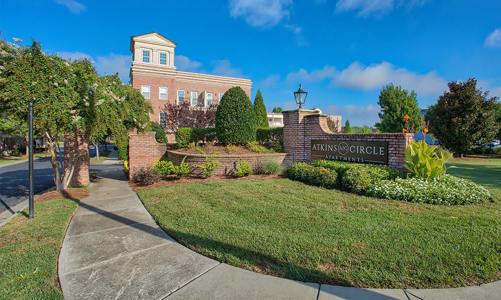 Entrance sign at Atkins Circle in Charlotte, North Carolina