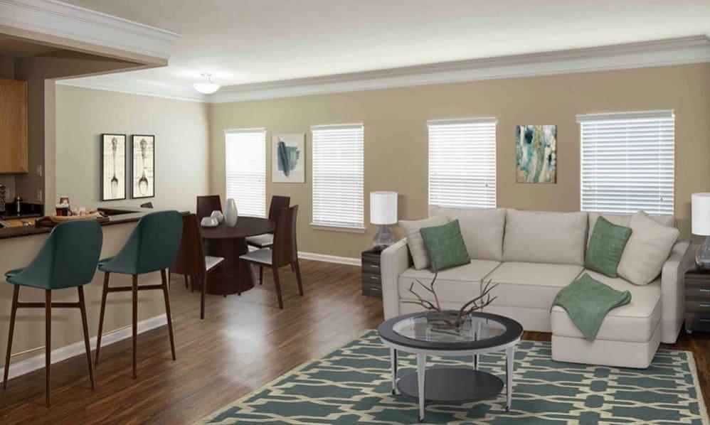 Open living room at Atkins Circle in Charlotte, North Carolina