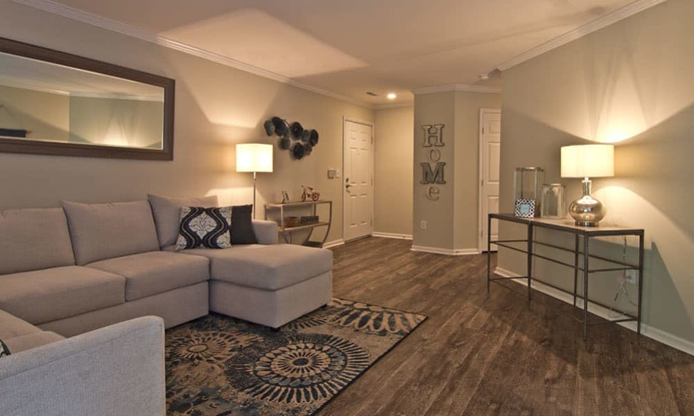 Model Living Room at The Woods at Polaris Parkway in Westerville, Ohio