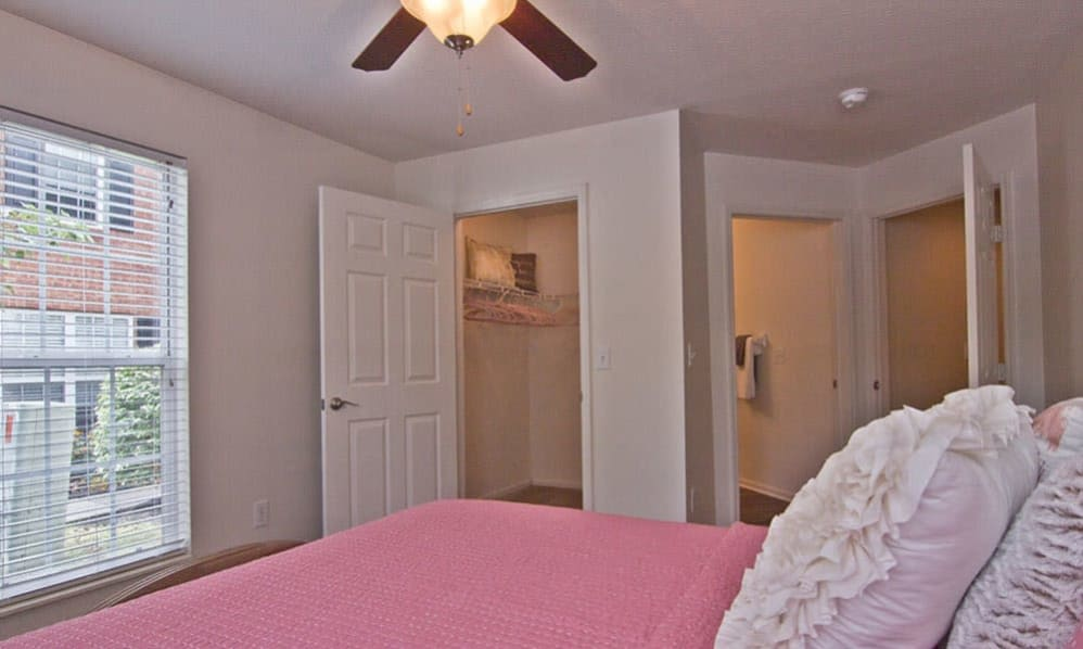 Model bedroom at The Woods at Polaris Parkway in Westerville, Ohio