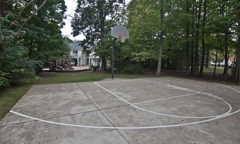 A basketball court at The Woods at Polaris Parkway in Westerville, Ohio
