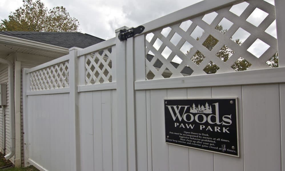 Entrance to the dog park at The Woods at Polaris Parkway in Westerville, Ohio