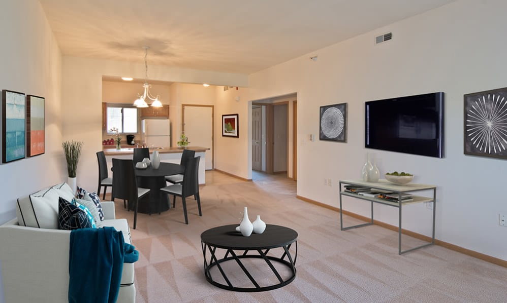 Spacious living room at Steeplechase Apartments & Townhomes in Toledo, Ohio